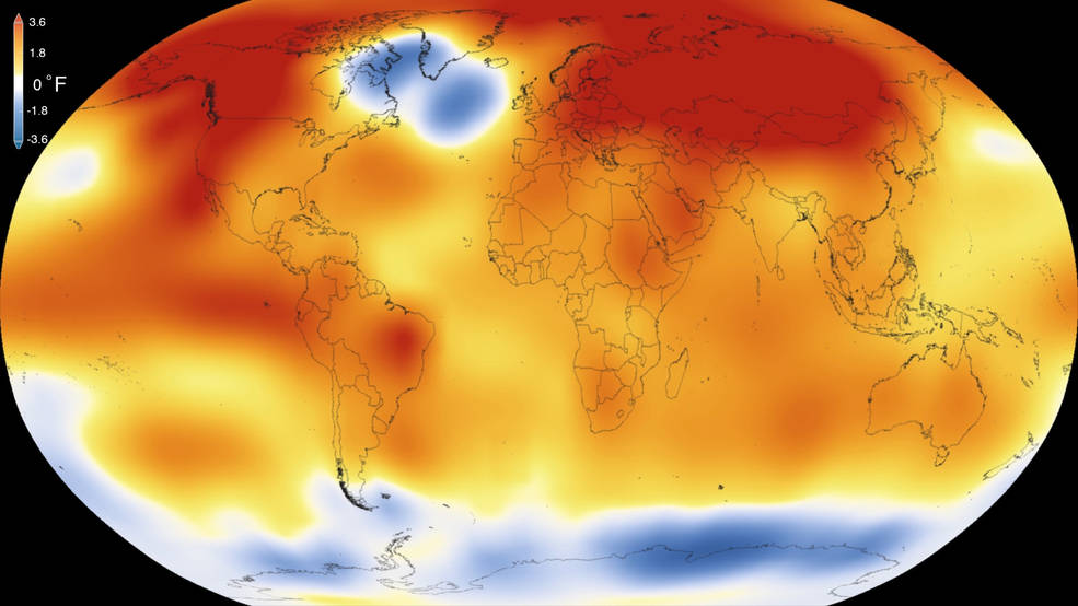2015 was the warmest year since modern record-keeping began in 1880, according to a new analysis by NASA's Goddard Institute for Space Studies. The record-breaking year continues a long-term warming trend — 15 of the 16 warmest years on record have now occurred since 2001. Credits: Scientific Visualization Studio/Goddard Space Flight Center