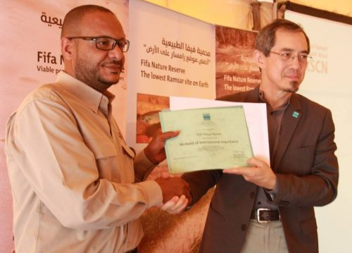 manager Ibrahim Mahasneh receiving the Ramsar Site certificate