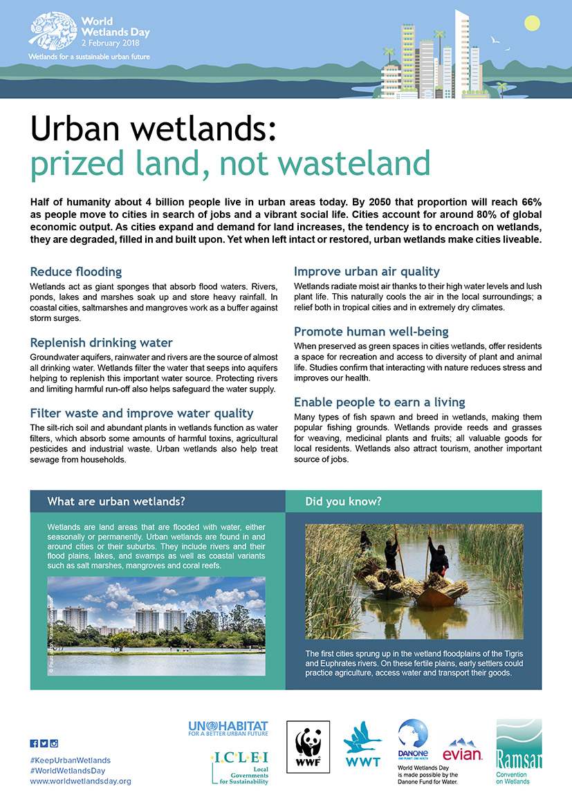 World Wetlands Day 2018: Wetlands for a sustainable urban